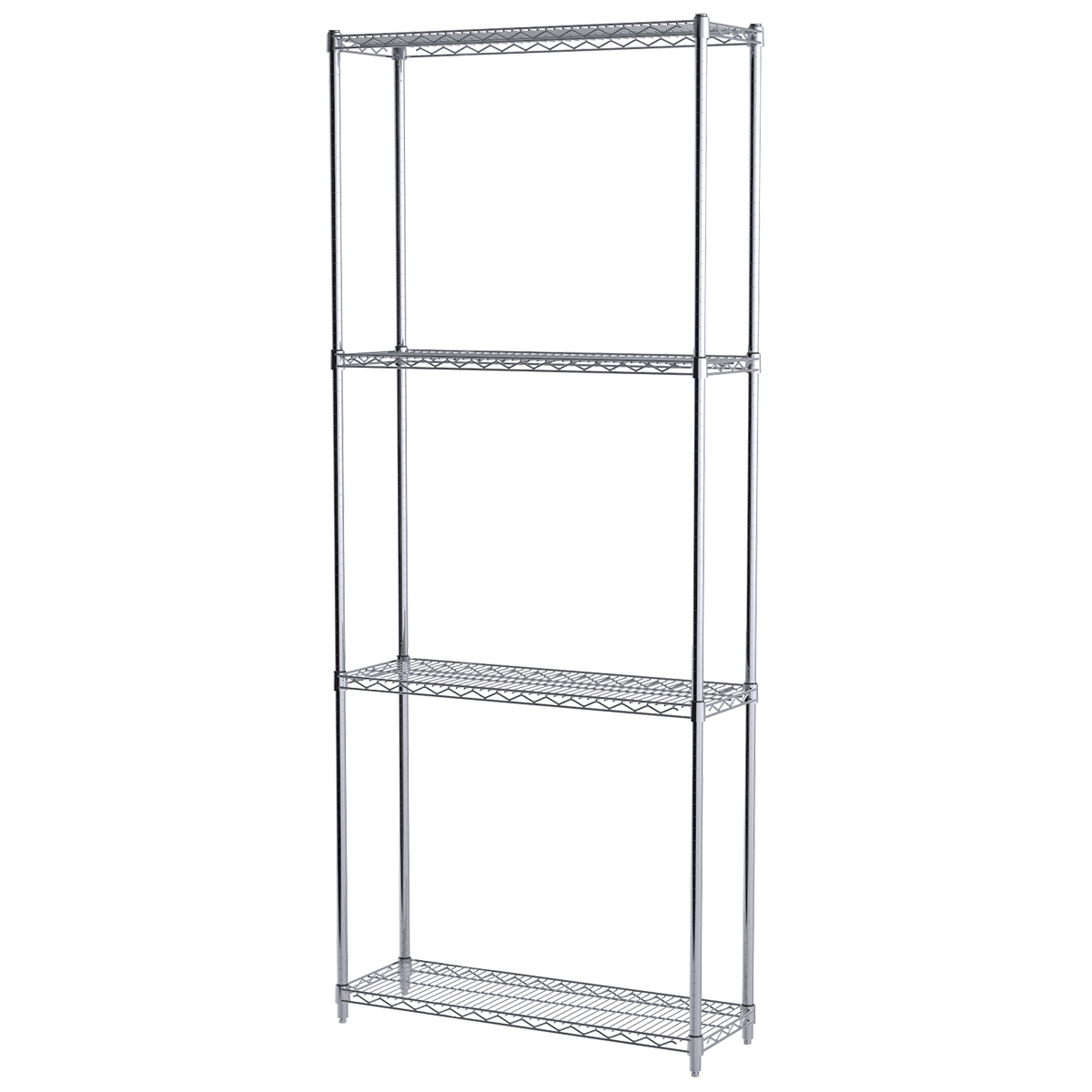 12x36x86, 4-Shelf Wire Shelving Starter Unit, Chrome.  This item sold in carton quantities of 1.