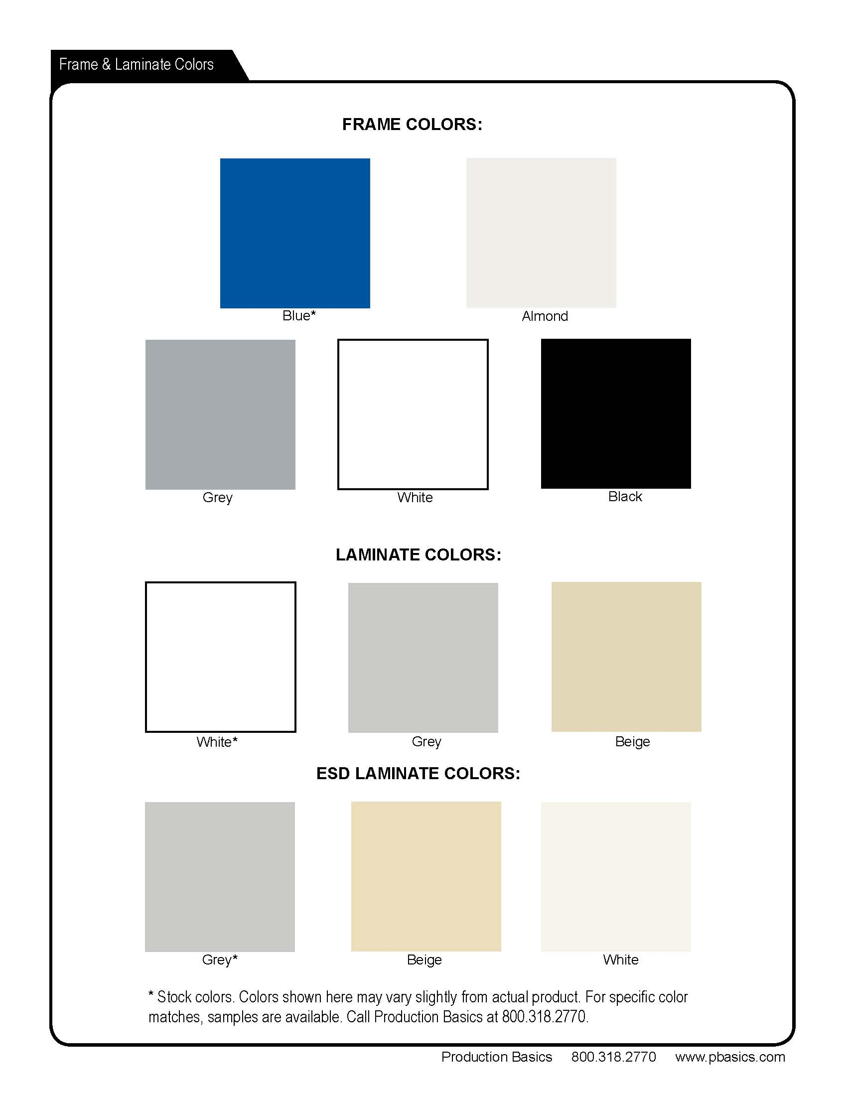 Pbasics Frame and Laminate Color Chart