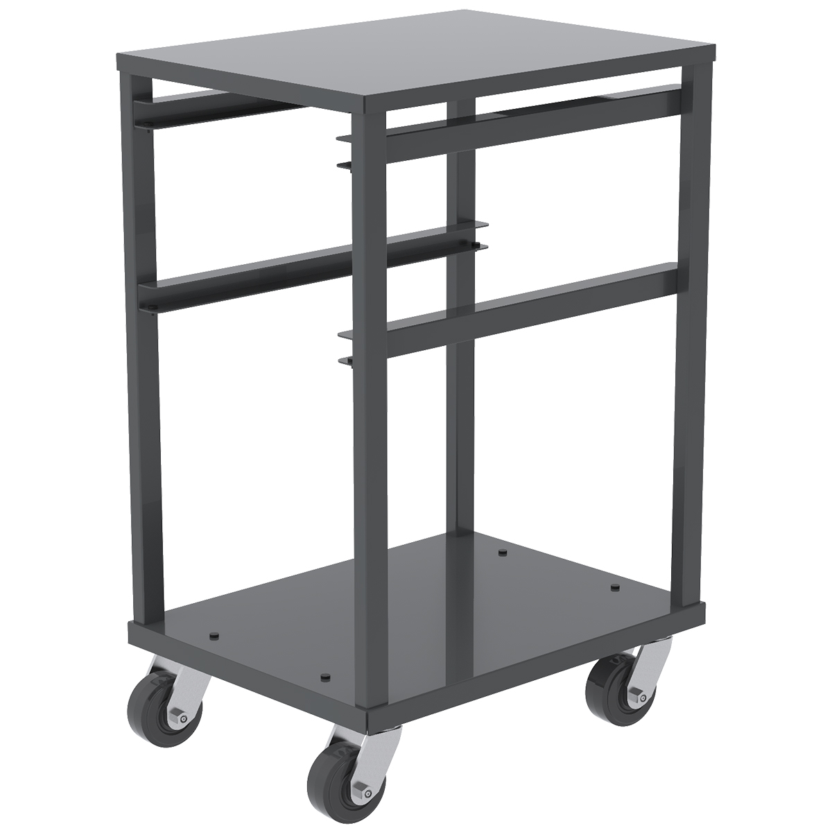 Item DISCONTINUED by Manufacturer.  3 Shelf Rack For Jumbo Lug Tub, 4x2 Mold-on Rubber, Gray.  This item sold in carton quantities of 1.