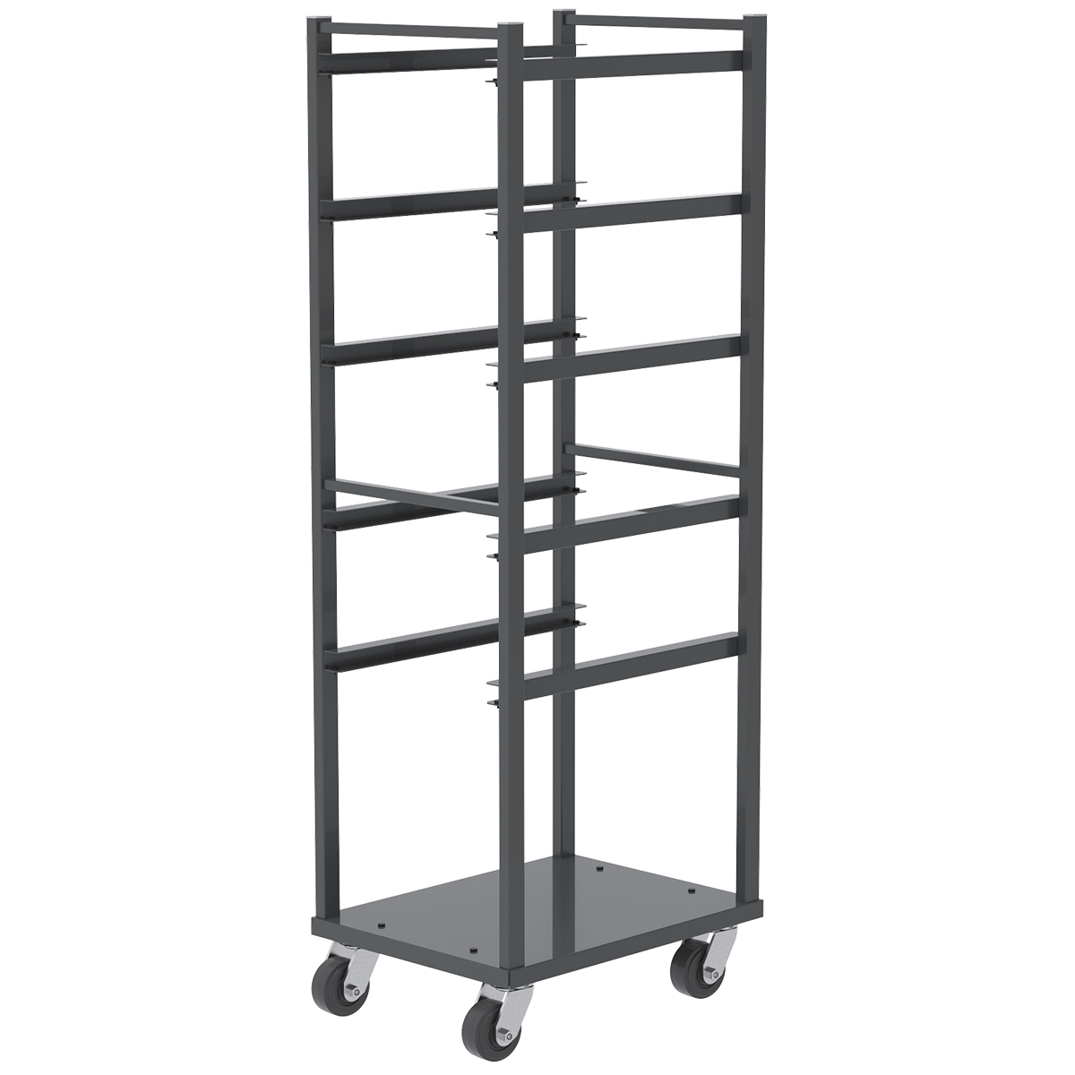 Item DISCONTINUED by Manufacturer.  6 Shelf Rack For Jumbo Lug Tub, 4x2 Mold-on Rubber, Gray.  This item sold in carton quantities of 1.