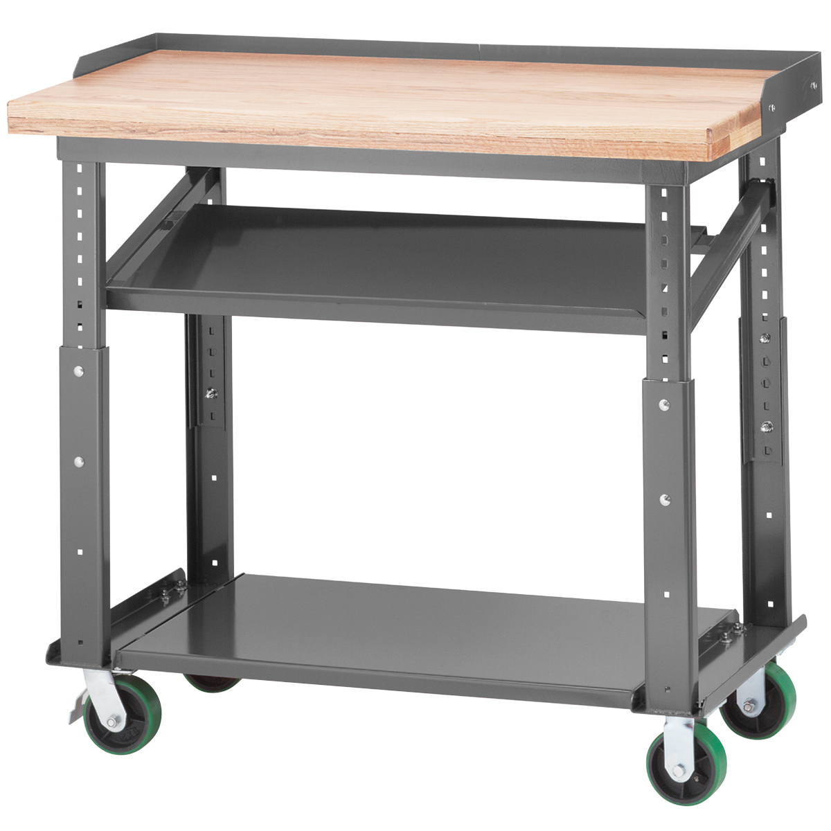 Heavy Duty Mobile Work Table, 24x48 Adjustable Height, Gray (RHWB2448P5PY0G)