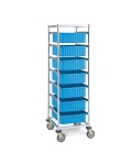 Metro® APT1C-5M - Adjustable Single Bay Kitting Cart Resilient Rubber Casters