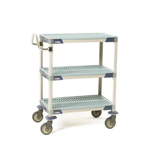 Metro® MXUC1830G-35 - MetroMax I® 1830 Utility Cart 3-shelf grid, 304 stainless handle and Corrosion Resistant 5PCX casters.