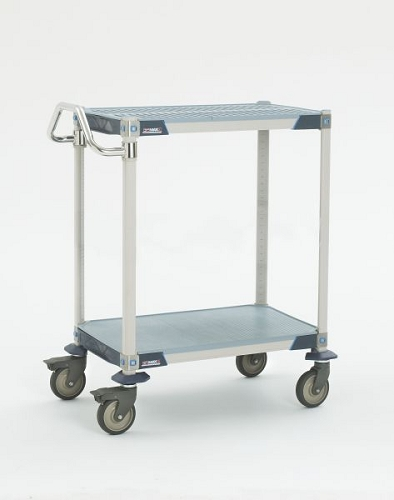 Metro® MXUC2436G-25 - MetroMax I® 2436 Utility Cart 2-shelf grid, 304 stainless handle and Corrosion Resistant 5PCX casters.
