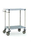 Metro® MQUC1830G-25 - MetroMax Q® 1830 Utility Cart 2-shelf grid, 304 Stainless handle and 5MPX polyurethane casters.