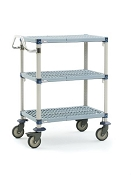 Metro® MQUC2436G-35 - MetroMax Q® 2436 Utility Cart 3-shelf grid, 304 Stainless handle and 5MPX polyurethane casters.