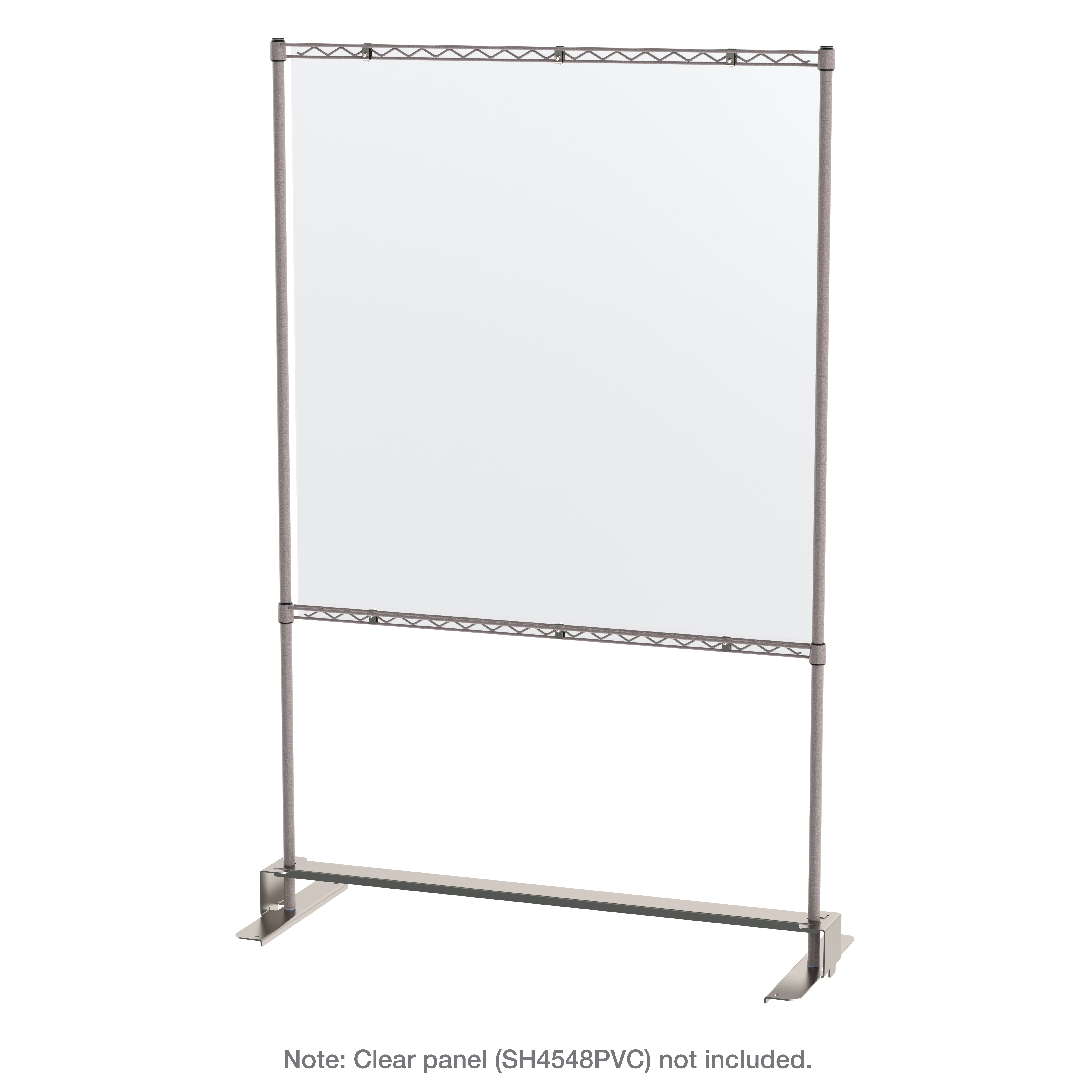 Metro SHC184880K4-MUB-4 Mobile Protective Barrier Shield Stand with 3 Wire Shelves, Metroseal Gray
