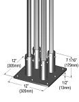 Metro® SAQHD50BP-4 - Seismic Bolt Plate Kit for (4) posts, 12