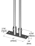 Metro® SASES25BP-2 - Seismic Bolt Plate Kit for (2) posts, 2-7/8