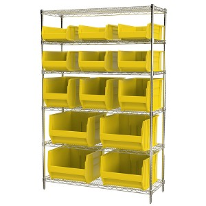 Item DISCONTINUED by Manufacturer.  Wire Shelving Kit, 18x48x74, 15 Bins, Chrome/Yellow (AWS1848SABY).  This item sold in carton quantities of 1.