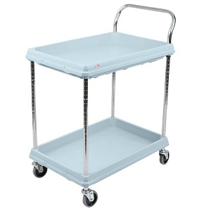 "Metro® BC2030-2DMB - BC Series Deep Ledge Utility Cart, 2-shelves, open base, shelf size 21-1/2"" x 32-3/4"", heavy duty plastic 2-3/4"" deep shelves, with Microban® antimicrobial product protection, with 4 swivel/resilient tread casters, aesthetic blue"