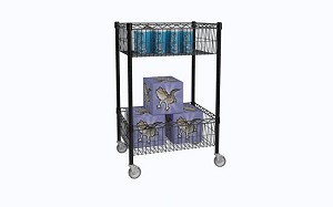"Standard Basket Cart  Metro Basket Cart 18"" W x 24"" L x 37"" H  8"" Deep Black Adjustable Basket Shelves (2) Mobile Cart"
