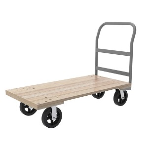 "Plat Truck, Wood Unassembled, 24x48, 8"" Mold-On Rubber, 1 Crossbar Handle, Natural/Gray (RPT24485K5M8GY).  This item sold in carton quantities of 1."