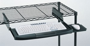Metro® CKS1522BL - Keyboard/Utility Shelf, retractable, mounts to either Super Erecta® or qwikSLOT™ wire shelf, black epoxy finish