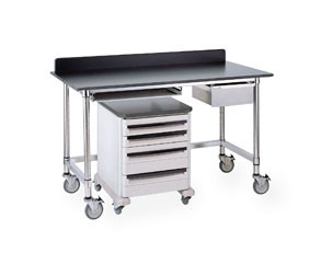 "Metro® LTSM48UPB - 48""Mobile (Casters Ordered Separately) HD Table, Phenolic Black Top, Solid Stainless Shelf"