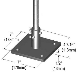 "Metro® SASES50BP-1 - Seismic Bolt Plate Kit for (1) post, 7""x7""x1/2"" (178x178x13mm) for 1"" (25mm) diameter post, Super Erecta (SES), Super Adjustable 2 Super Erecta (SESE), quickSLOT (QS) assemblies (floor anchors not included)"