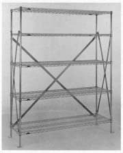 "Metro® SA48BC - Super Erecta® Seismic Back Kit, for 48"" long seismic shelving unit, includes: 2 sway braces which form and ""X"" on back of unit and all mounting hardware"