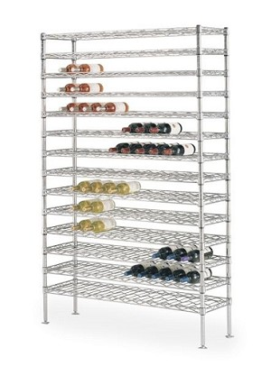 "Metro® WC237C - Super Erecta® Cradle Wine Shelving, 74-3/4"" H, 14"" W, 36"" L, 126 bottle capacity, open wire construction/shelves spaced 5"" apart, top of the wire ""snake"" acts as a natural back stop, foot plate"